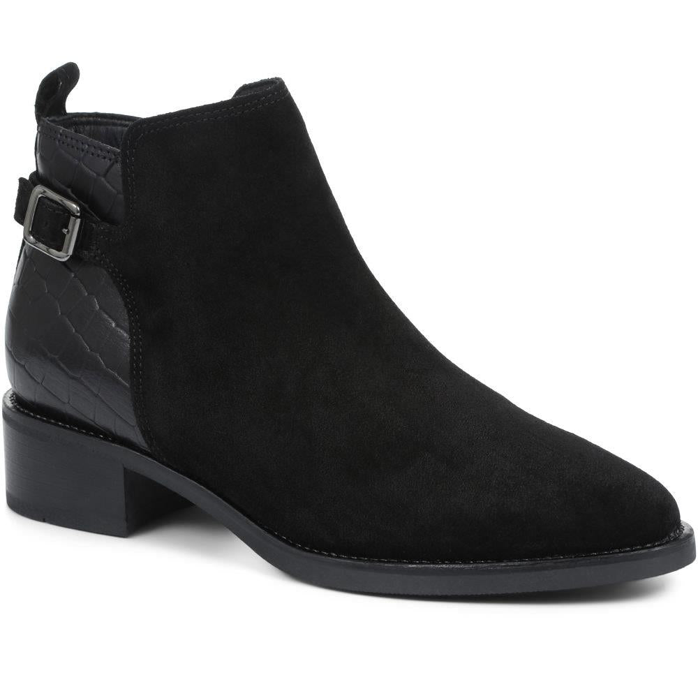 Casual Flat Croc Panel Leather Ankle Boot - CARM30503 / 316 594