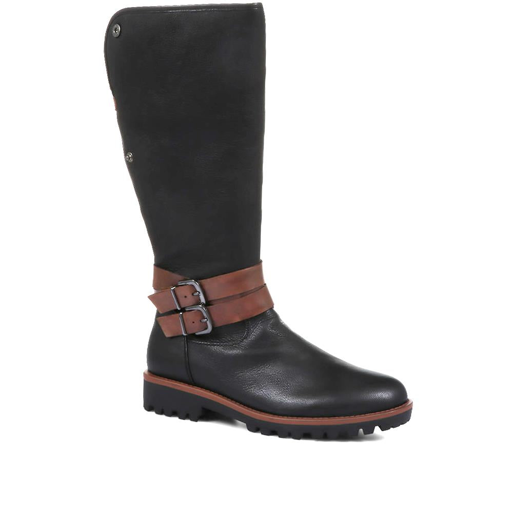 Nika Tall Leather Boots with Buckles - SINO32510 / 319 120