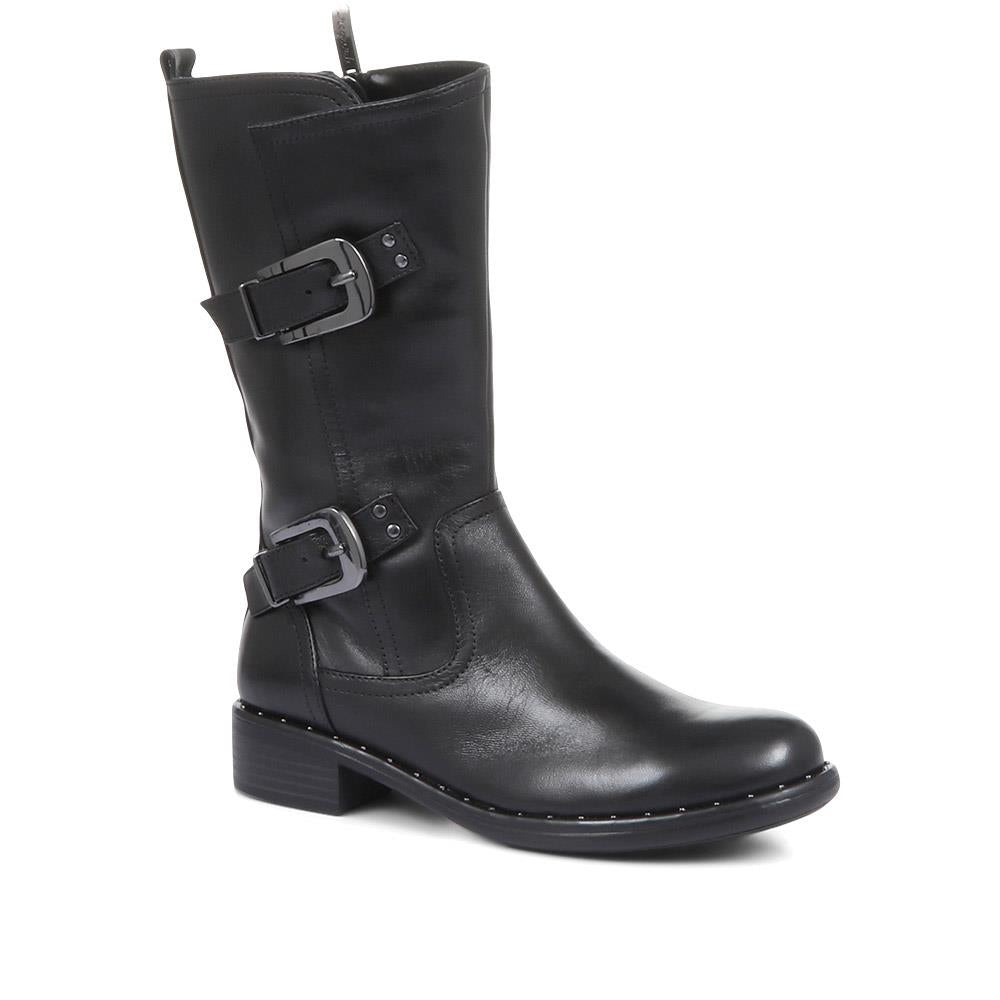 Roxana-21 Leather Biker Boots - SINO32519 / 319 531