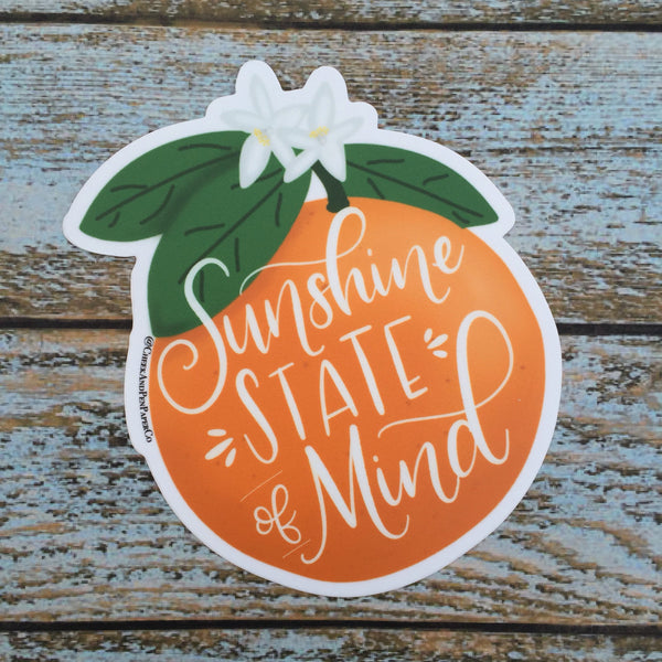 Sunshine State of Mind Car Decal // Hurricane Irma Relief donation // vinyl sticker, water bottle decal