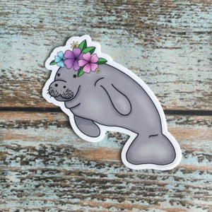 Vinyl Manatee with tiny flower crown, Snooty the Manatee, water bottle decal