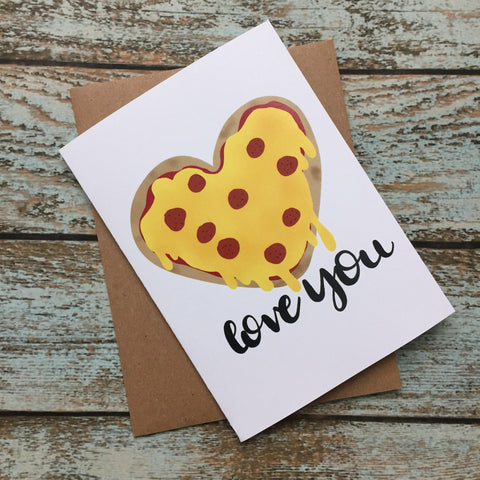 Subtle Pizza Love, Valentines Day Card, just because, card for him, card for her, anniversary card