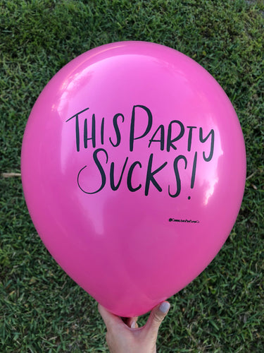 This Party Sucks Comical Birthday Balloon, party decor, photobooth prop