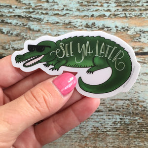 See Ya Later Alligator, vinyl waterbottle sticker, pun decal