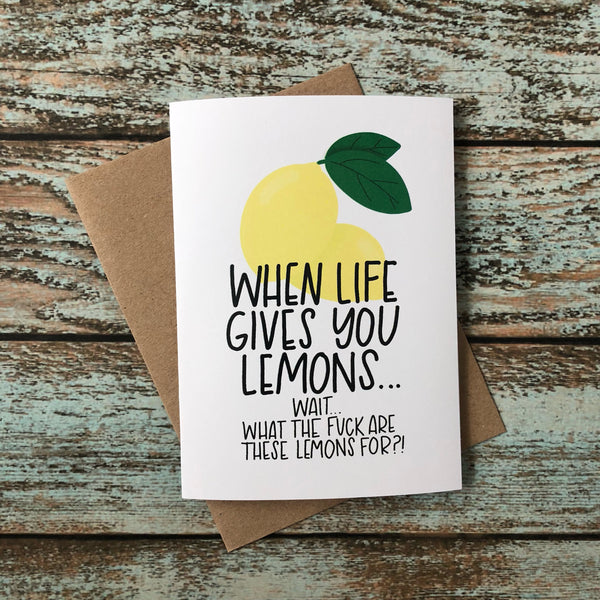 Mature Bad Case of Lemons sympathy card, empathy card, bad day humor, break up, loss, divorce