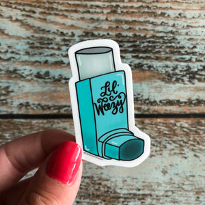 Dont panic Lil' Weezy Mini Inhaler Sticker, Vinyl water bottle sticker, silly asthma decal