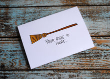 Witchy Halloween Card, Broom stick ride card, Snarky Best Friends Card, BFF card, Witch, Funny card