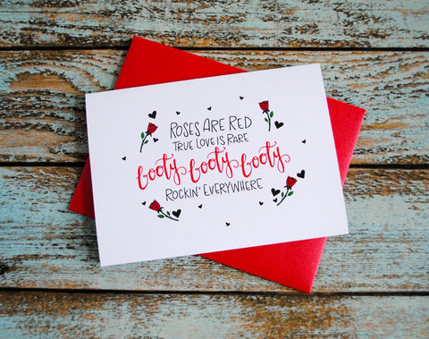 Valentines Day Booty Poem, Lovers Card, Valentines Day Card, Funny Love Card, Boyfriend Card, Girlfriend Card