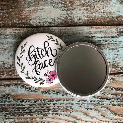 Active Bitch Face Purse Mirror, Pocket Mirror
