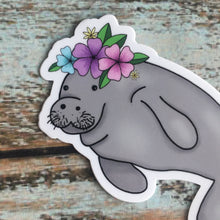 Manatee with tiny flower crown, water bottle decal