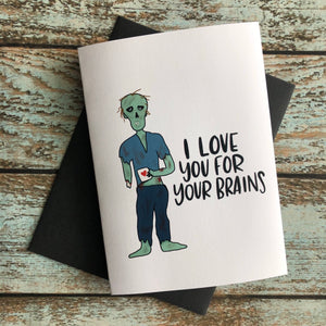More than a pretty face Zombie love card