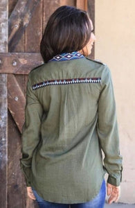 Olive Aztec Button Down