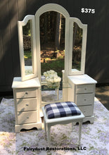 White Vanity with Buffalo Plaid Bench