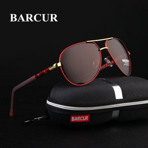 BARCUR Aluminum Magnesium Men's Sunglasses Men Polarized Coating Mirror Glasses oculos Male Eyewear Accessories For Men