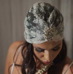 IVORY LACE TURBAN WITH VINTAGE CENTERPIECE