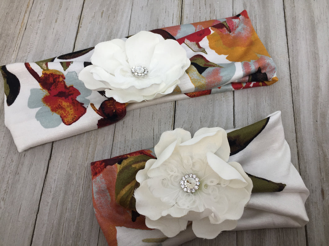 MATCHING WHITE FLORAL HEADBAND SET