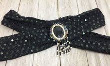 BLACK SEQUENCE HEADBAND WITH BEADED CENTERPIECE