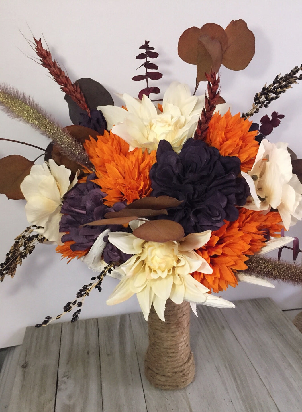 DARK PLUM AND ORANGE BOUQUET SET
