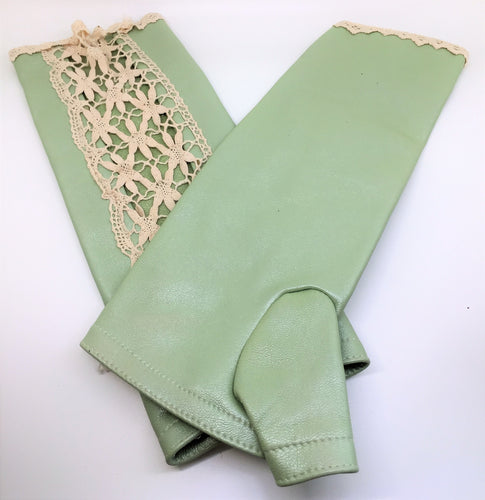 LEATHER & LACE FINGER-LESS GLOVES