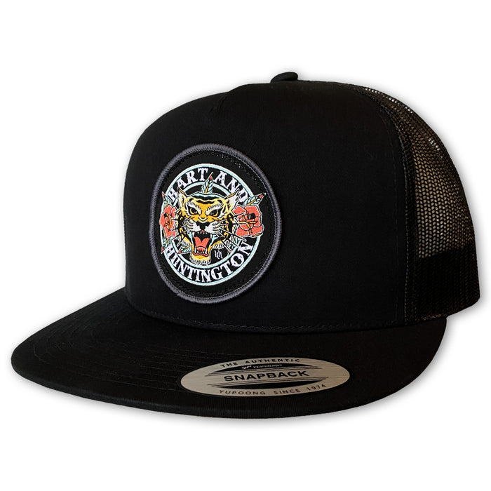 """Tiger Rose"" Trucker Snapback Hat - Black"