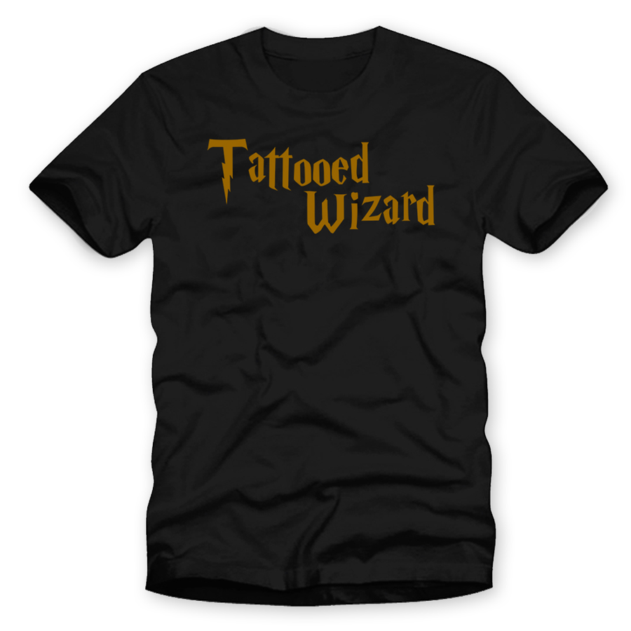 "Men's ""Tattooed Wizard"" Tee by Flying Swine - Black"