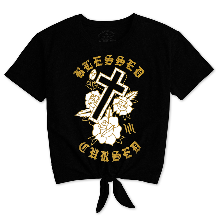 "Women's ""Blessed"" Tie Front Tee - Black"
