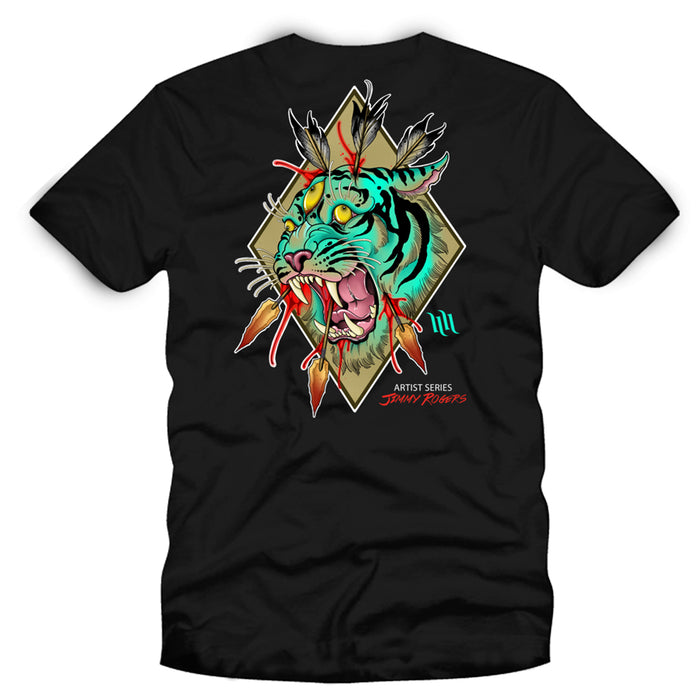 "Men's ""Tiger Eyes"" Artist Series Tee By Jimmy Rogers - Black"