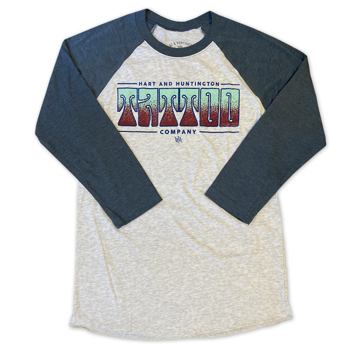 "Women's ""Retro"" Rib 3/4 Sleeve Raglan Tee - Heather/Navy"