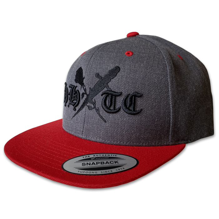 Rose & Dagger Snapback Hat (Charcoal/Red)
