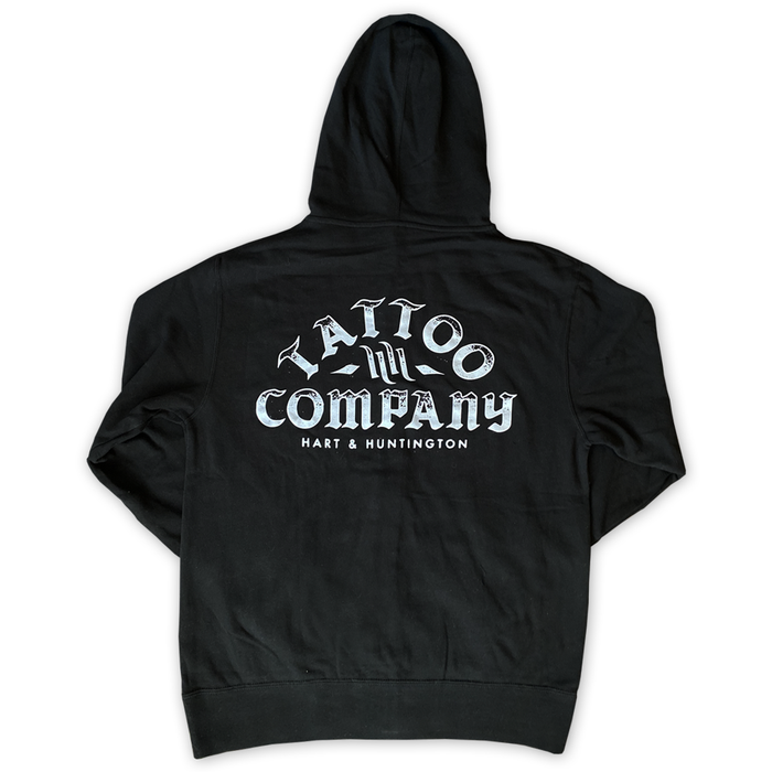 "Unisex  ""Tattoo Co."" Zip Hoodie - Black"