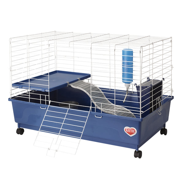Kaytee My First Home Deluxe Guinea Pig 2-Level Cage Habitat with Wheels