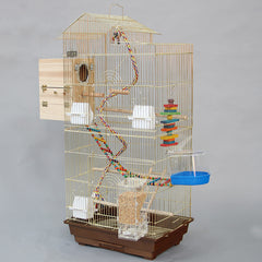 Cage Heaven™'s Fully Equipped Deluxe Gold Plated  Bird Cage