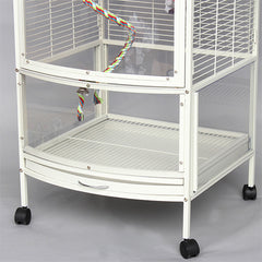 Cage Heaven™'s Fully Equipped Iron Metal White Deluxe Open Top Bird Cage