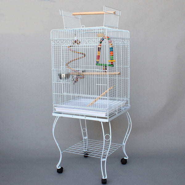 Cage Heaven™'s Fully Equipped White Premium Open Top Bird Cage