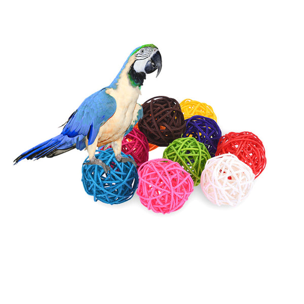 10pcs Rattan DIY Colourful Circular Bird Toy