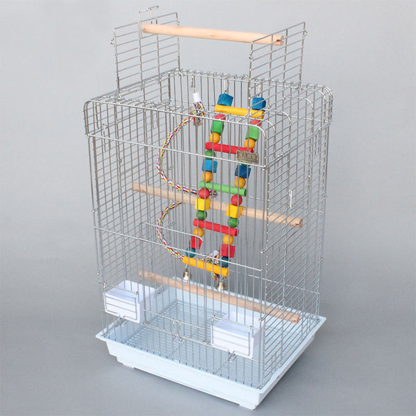 Cage Heaven™'s Fully Equipped Chromium Plated Open Top Bird Cage