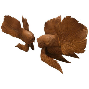 Vintage Pair of Carved Wooden Japanese Koi Fish