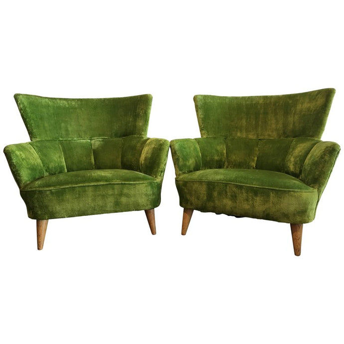 Midcentury Lime Green Chairs Covered in Original Fabric