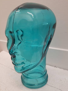Glass Turquoise Head Sculpture
