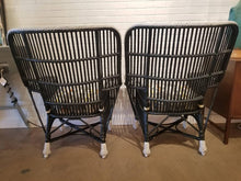 Pair of Vintage Black Lacquered Rattan Woven Chairs