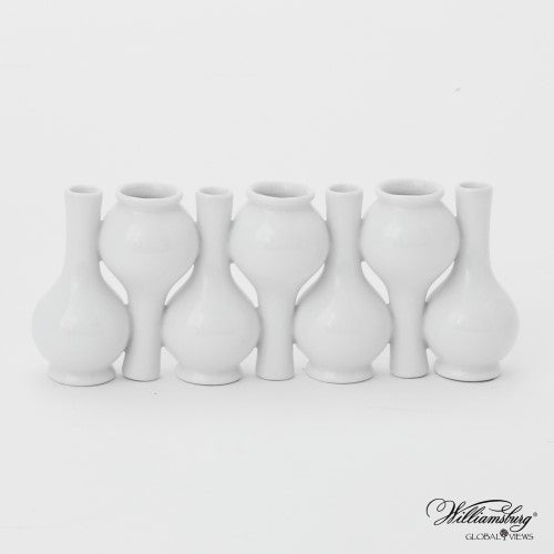 Chinoiserie Up + Down Long Neck Bud Vase-White Crackle finish