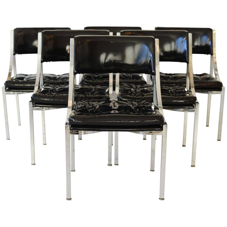 ... Black Patent Leather, Set Of Six Mid Century Polished Chrome Chairs ...