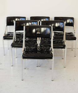 Black Patent Leather, Set of Six Mid-Century Polished Chrome Chairs