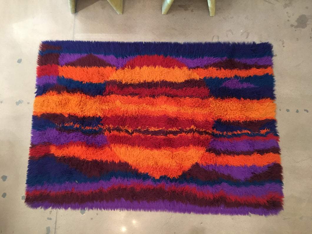 Rya Vintage Multi-color shag rug