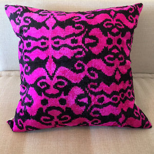 Ikat Pillow (Black, Neon Pink) 20x20