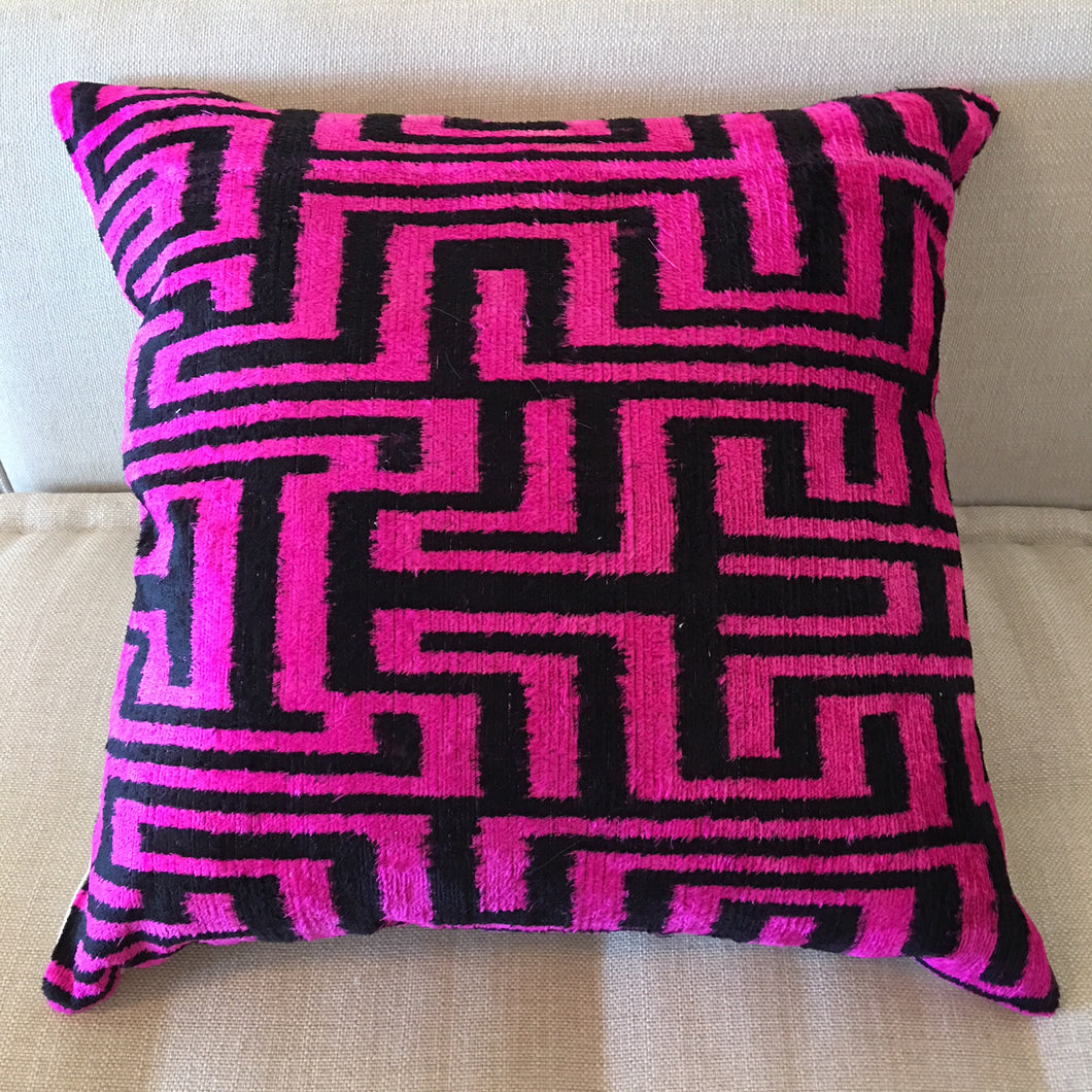 Ikat Geometric Pillow (Black and Neon Pink) 20x20