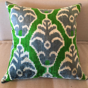 Ikat pillow 20x20 (Green, Gray, White)