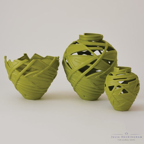 Julia Buckingham for Global Views All Wrapped Up Green Vase, Bowl