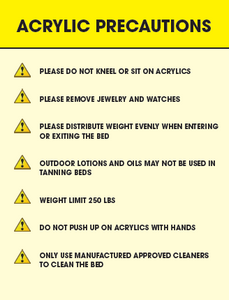 Tanning Acrylic Precaution Sign