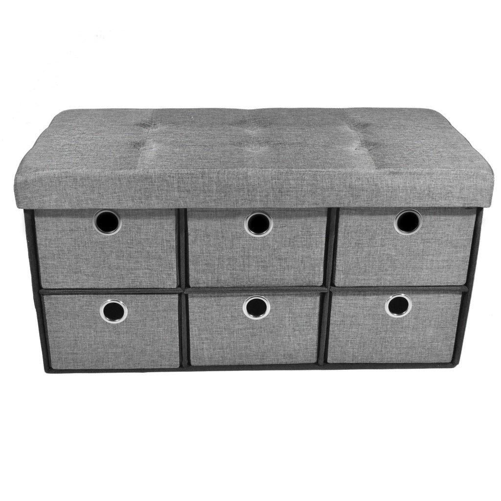 Collapsible 6 Drawer Storage Ottoman - Grey Linen 30x15x15
